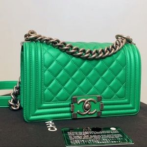 Chanel le boy small green metallic